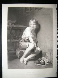 Children 1873 Steel Engraving, Louis XVII